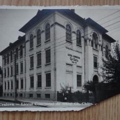 Vedere/CP-Craiova-Liceul Comercial de Baieti Gh Chitu-cu cenzura militara - Carte Postala Oltenia dupa 1918, Circulata
