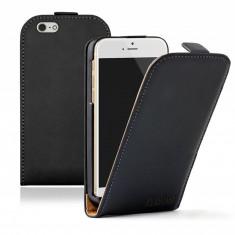 HUSA Iphone 6 4.7 inci Apple PIELE NEAGRA MODEL FLIP SLIM TOC CU INCHIDERE MAGNETICA SI CLAPETA CU ACCES LA FUNCTIILE TELEFONULUI CALITATE GARANTATA, Negru, Cu clapeta