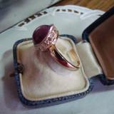 ELEGANT INEL AUR 14KT-CU RUBIN CABOCHON SI DIAMANTE-SUPERB(NOU - Inel diamant, Culoare: Galben