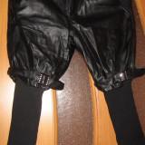 Pantaloni dama - Pantaloni negri imitatie piele