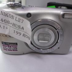 APARAT FOTO NIKON L27/OFERIM CARD DE 4 GB.INCARCATOR.HUSA/(LM3) - Aparat Foto compact Nikon, Bridge, 16 Mpx, 5x, 2.5 inch