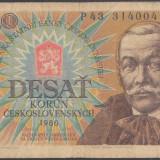 Bancnota Straine - Cehoslovacia 10 korun 1986 VF-