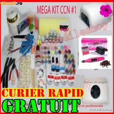 KIT SET Unghii false BeautyUkCosmetics GEL UV MANICHIURA LAMPA, PILA, ASPIRATOR, GELURI CCN