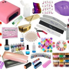 KIT SET Unghii false BeautyUkCosmetics CU GEL COLOR GELURI CCN COMPLET CONSTRUCTIE LAMPA UV PILA