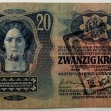 Bancnota Straine, Europa, An: 1913 - AUSTRIA UNGARIA 20 KRONEN KORONA COROANE 1913 stampila LOCALA DREPTUNGHIULARA **