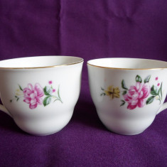 SET 2 CESTI CEAI/ CAFEA, IDENTICE, DIN PORTELAN FIN, MADE IN CHINA, MOTIV FLORAL