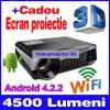 Videoproiector HD3D, Lampa LED, DualCore, Android 4.2, 4500 lumeni, WiFi, 1GbRAM, Peste 4000, 1280x800, peste 3000, 10 000 - 15 000 ore