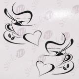 Cesti Cafea_Tatuaj De Perete_Sticker Decorativ_WALL-107-Dimensiune: 35 cm. X 33.6 cm. - Orice culoare, Orice dimensiune