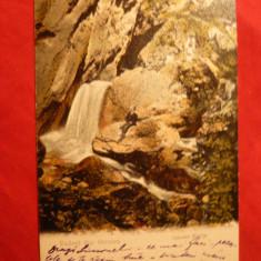 Ilustrata clasica Govora - Cascada Bistrita, circ. 1904 cu 5 Bani Spic de Grau - Carte Postala Oltenia pana la 1904