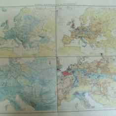 Harta color Europa Cantitatea de precipitatii si densitatea populatiei Leipzig 1899 - Harta Europei