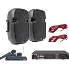 Echipament karaoke - SISTEM COMPLET KARAOKE COMPUS DIN 2 BOXE, STATIE CU MP3 USB, CABLURI SI 2 MICROFOANE WIRELESS BONUS!