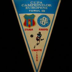 Fanion fotbal - PENTRU UN FAN STEAUA BUCURESTI - FANION - STEAUA BUCURESTI - KUSYSI LAHTI - CUPA CAMPIONILOR EUROPENI - 05 MARTIE 1986