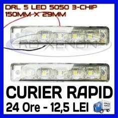 DRL 5-SMD 5050 - 150mm x 29mm - DAYTIME RUNNING LIGHT - Lumini de zi ZDM, Universal