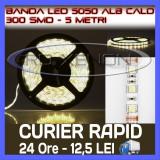 ROLA BANDA 300 LED - LEDURI SMD 5050 ALB CALD (ALBA, ALBE) - 5 METRI, IMPERMEABILA (WATERPROOF), FLEXIBILA ZDM