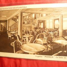 Ilustrata- Nave-Transatlanticul Massilia- Salonul de Ceai, interbelica - Carte postala tematica