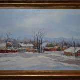 ANGHEL VASILE SIMINIUC - Pictura - Ulei pe panza - Iarna la Ilisesti - 60 X 40 ! - Pictor roman, An: 2014, Peisaje, Ulei, Realism