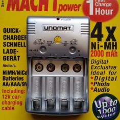 Incarcator rapid UNOMAT MACH 1 power pentru acumulatori AA/AAA si 9V - Incarcator Aparat Foto Alta