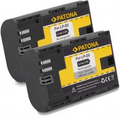 PATONA | 2 Acumulatori compatibili CANON LPE6 LP-E6 EOS 7D 60D 70D 5D 1300mAh - Baterie Aparat foto