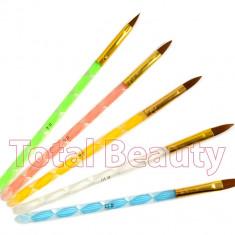 Unghii false - Set 5 Pensule Speciale Manichiura Acryl aplicare pudra acrilica lichid acrilic