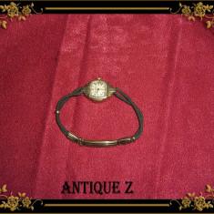 Ceas aur dama Bulova, vintage - Ceas dama Bulova, Casual, Placat cu aur, Material textil, Analog