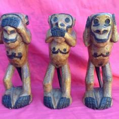 Sculptura, Abstract, Africa - Trei Maimute inteligente sculptate din lemn - Arta Africana !!!