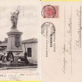 Salutari din Bucuresti - Monumentul Pompierilor din Dealul Spirii- clasica - Carte Postala Romania pana la 1904, Circulata, Printata