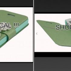HUSA IPHONE 4 4s carte verde cu diamant magnetica card + FOLIE ECRAN, Cu clapeta