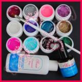 Gel unghii - Set 12 Geluri colorate UV cu sclipici ENS PRO Germania degresant finish pensula