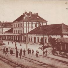 Romania, Tovis, Teius carte postala circulata 1918: Interior gara, animat, Fotografie