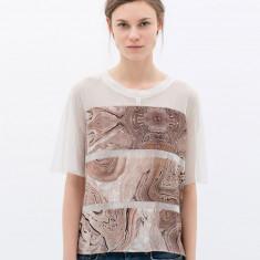 Nou! Tricou transparent print marmorat, ZARA, femei masura S - Tricou dama Zara, Marime: S, Culoare: Alb, Imprimeu grafic, Maneca scurta, Universala
