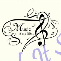 Music is my love_Perete_Sticker Decor _ Cod: WALL-746-Dim: 25 cm. x 19.5 cm. - Tapet