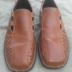 Pantofi de vara din piele Rieker Antistres mar.42 / 26.5cm - Pantofi barbati Rieker, Culoare: Maro, Piele naturala