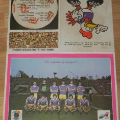 POSTER echipa de fotbal ROMANIA CAMPIONATUL EUROPEAN EURO 1984 FRANTA