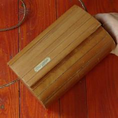 Vintage - Geanta Pagani de umar tip poseta din lemn si curea tip snur din piele - Geanta vintage