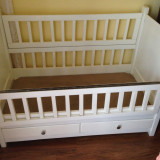 Patut copii - Patut lemn pentru bebelusi, 115x65cm, Alb