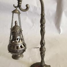Obiect de cult zinc/argint de ars tamaie/mirodenii model deosebit cu cruce 18cm