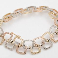 Bratara din aur - Bratara aur trei culori cu diamante