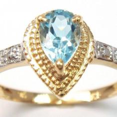Inel aur galben 9k round cut, blue topaz natural si diamante, marime 7(US), 46 - 56