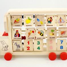 Jocuri arta si creatie - Jucarie creativa din lemn cu roti - Numaratoare si Alfabet (cuvinte in engleza)