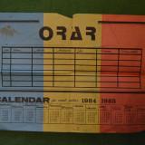 Calendar - orar pionieresc anul scolar 1984-1985, 30x20cm, cu tricolor