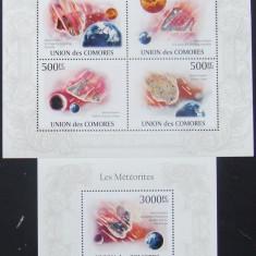 Colectii filatelie, An: 2010 - INSULELE COMORE 2010 - METEORITI 4 VALORI IN M/SH SI 1 S/S, NEOBLITERATE - E2776