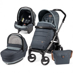 Carucior 3 in 1 Book Plus 51 Black Completo SL Blue Denim - Carucior copii 2 in 1 Peg Perego