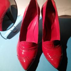 Pantofi rosii piele lac - Pantof dama, Marime: 39 1/3, Culoare: Rosu