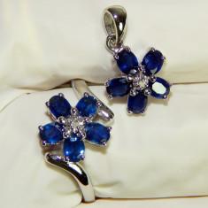 Set aur alb 14k, safire si diamante IEFTIN - Set bijuterii aur