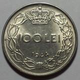 Monede Romania, An: 1944 - 100 Lei 1944 Romania a UNC, Luciu de batere, surplus de material dupa ceafa si deasupra cifrei 1