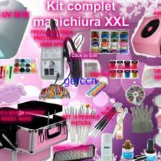 Unghii false - Kit unghii profesional / Kit manichiura ultracomplet /Lampa UV/Aspirator/Geanta manichiuriste/Freza electrica/Geluri/Vopsele acrilice/Pile/Primer/Ulei