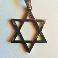 Pandantiv Steaua lui David medalion Silver hexagrama israel - Pandantiv fashion