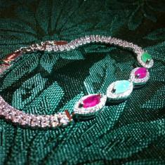 Bratara din argint, Femei - Bratara argint 925 rubin smarald pietre rosii verzi piatra rosie verde cristale
