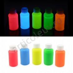 Set 5 culori vopsea fosforescenta colorata