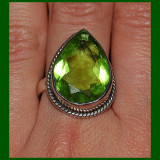 Imens! inel stralucitor argint 925 cu piatra semipretioasa verde intens, pear cut, model piatra adanca!!!! - Inel argint